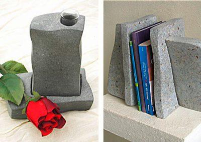 Vase und Buchstützen